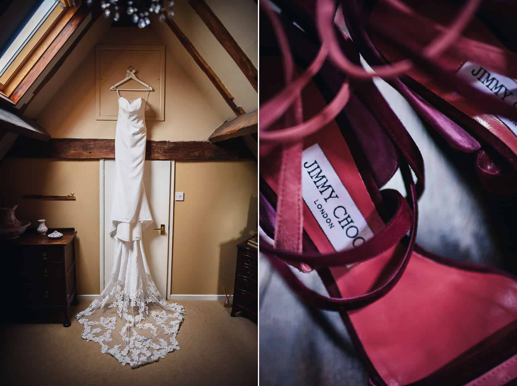 brides dress and Jimmy Choos Shoes